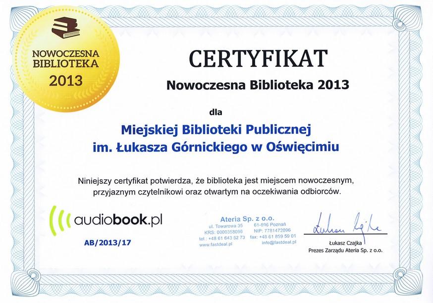 Certyfikat Nowoczesna Biblioteka
